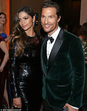 Men Celebrity Wedding Grooms Tuxedo Casual Green Velvet Coat Jacket Blazer UK