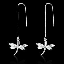 Hot 925Sterling Solid Silver Jewelry Dragonfly Dangle Earrings For Women E900
