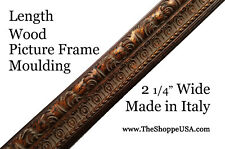 """19' Imported 2 1/4"""" Wide Italian Ornate Copper Wood Picture Frame Moulding"""