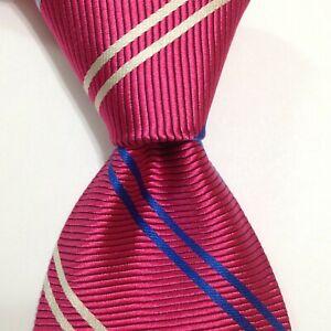 BROOKS BROTHERS Makers Mens Silk Necktie USA Designer STRIPE Pink/Blue/White GUC