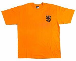 Holland Netherlands 1970s Retro Football T Shirt Embroidered Crest S-XXL
