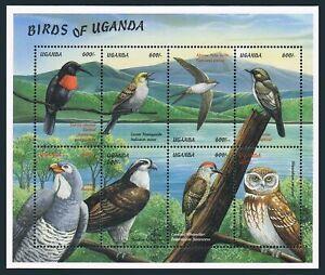 Uganda 1616 ah sheet,MNH. Birds 1999.Scarled-crested sunbird,Lesser honeyguide
