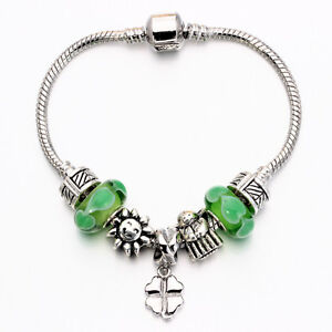 WOW Silver Lucky Clover Leaf Sunshine Green Murano Beads European Charm Bracelet