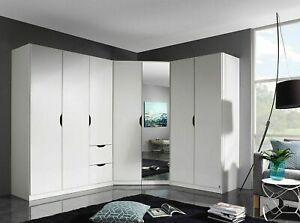 Kleiderschrank Eckschrank »Helsinki« Komplett Set 3tlg Kombination Weiß+Spiegel