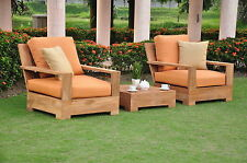 Leveb Grade-A Teak Wood 3 pc Outdoor Garden Patio Sofa Lounge Chair Set New