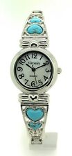 Ladies Heart Stones Stretch Elastic Band Fashion Watch Pearl Dial Versales