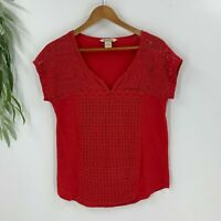 Lucky Brand Womens Pullover Lace Shirt Top Size Medium M Red Short Sleeve Knit
