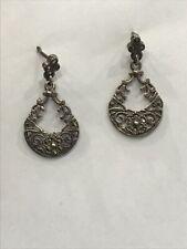 Vintage 925 Sterling Silver Marcasite Dangle Drop Earrings
