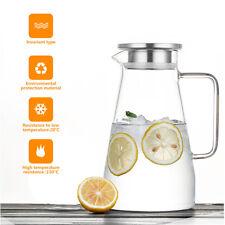 Wasserkrug mit Edelstahl Filter Wasserkaraffe Glaskaraffe Glaskrug Saftkrug 1,5L