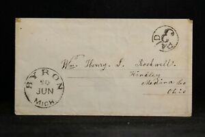 Michigan: Byron 1850s Stampless Cover, Black CDS & Circled PAID 3