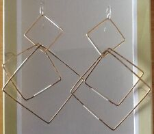 Large Dangling Fashion Sterling Silver/14k.Gold filled Diamond Square Earrings