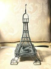 Distressed Gray Metal Eiffel Tower Votive Candle Holder Paris Shabby Chic 13""
