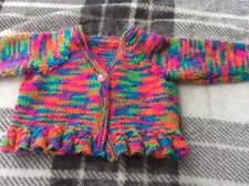 hand knitted baby cardigan 0-3 months Bright Multi Colour - Pink Baby Girl