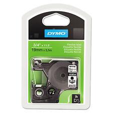DYMO D1 Flexible Nylon Label Maker Tape 3/4in x 12ft Black on White 16954