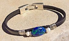 Azurite Malachite, Freshwater Pearl & Flat Leather Bracelet Silver Handcrafted