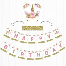 Unicorn Birthday Banner - Pink and Gold Glitter Effect Unicorn Bunting