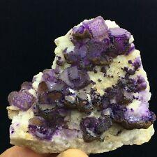 185g  Natural Deep Purple Edge Fluorite Crystal Cluster Mineral Specimen/China