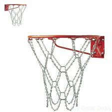 Chain Basketball Net Heavy Duty Galvanized Steel Goal Strong Hoops Outside
