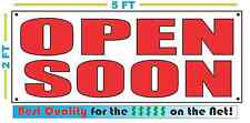 All Red OPEN SOON Banner Sign NEW Larger Size Best Quality for the $$$