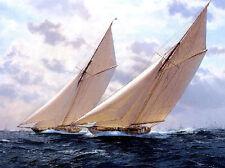 "Wonderful art Oil painting seascape big sail boats - Sailing on ocean canvas 36"""
