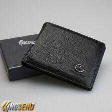 Mercedes Benz Wallet Genuine 100% Cow Leather Bifold Men Slim ID Purse Car Pouch