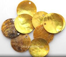 50pcs Golden Color Mussel Shell Flat Round Coin Charm Beads 18mm