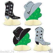 4 WESTERN Cowboy Wild West Party MINI Decorations Cowboy Hat Boots PLAYMATES