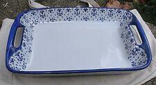 vintage Stoneware Baking Dish,white & blue,fleur de lis design,rectangular,Wcl