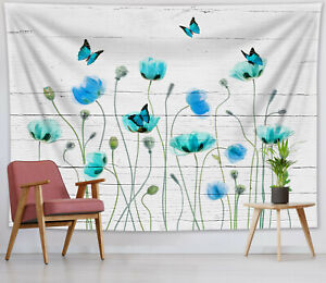 Blue Poppy Butterfly Tapestry Rustic Planks Wall Hanging For Living Room Bedroom