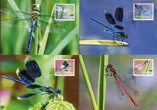 Liechtenstein 2019 MAXI Dragonflies Defin 4v Set Cards Dragonfly Insects Stamps