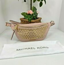 Michael Kors Fanny Pack Rhea Pyramid Studded Pink Leather Belt Bag B2Y