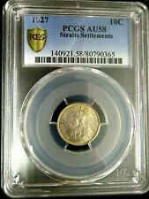 PCGS AU58 Gold Shield-Straits Settlements 1927 George V Silver 10 Cents Scarce