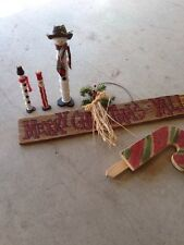 Lot of  5 VINTAGE WOOD CHRISTMAS  Decorations Snowman Hanging Sign Candy Cane
