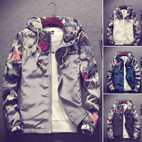 Fashion Men's Casual Camo Thin Hoodie Jacket Wind Breaker Sport Loose Tops Coat