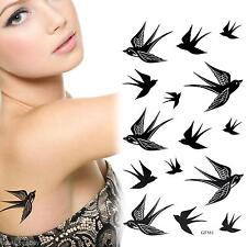 Swallow Bird Flash Removable Waterproof Temporary Tattoo Sticker Sheet Body Art