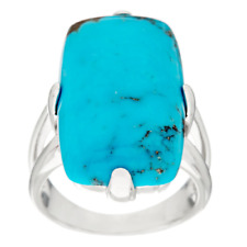 KINGMAN TURQUOISE STERLING SILVER BOLD ELONGATED CUSHION RING SIZE 6 QVC $269.00