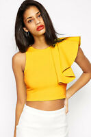 Womens yellow celeb crop top ruffle vest boutique bodycon size 8 10 12