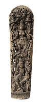 """Antico Pannello Legno Lavorato Statua Lakshmi Indù 181 cm-71 """" Nepal - India"""