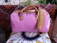 MULHOLLAND Brothers Pink Coated Canvas Leather Trimmed Travel Carry On