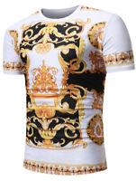 Mens Baroque Angel Print Short Sleeve T Shirt Slim Fit Casual Tops Summer Tee