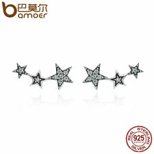 BAMOER New S925 Sterling silver Stud Earrings Stars & Clear CZ For Women Jewelry