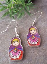 kultige Matroschka Ohrringe russische Puppen Babuschka Russland Silber Lila Rot