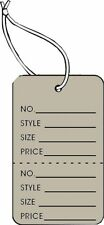 Garment Tag Small Grey Color With String 1000 Tags Pack 125 X 1875