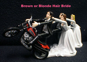Motorcycle Wedding Cake Topper W/ red Harley Davidson Bike Funny Groom Top sexy