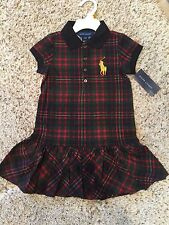 NWT POLO RALPH LAUREN GIRLS 100% COTTON MULTICOLOR PLAID BIG PONY DRESS, SIZE 2T