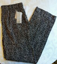 NWT Coral Bay Plus Print Challis Pants 1X Black/Beige (Comfort Waistband)