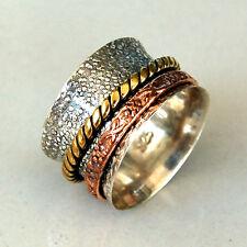 # R830  Bague Méditation Argent Massif 925 Deux anneaux mobiles t60