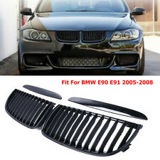 Car SUV Bumper Front Slat Grille Intake Black ABS Fit For BMW E90 E91 2005-2008