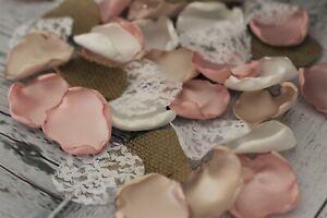 Dusty Rose Gold Rustic Wedding Flower Rose Petals Ivory Burlap Lace Boho Decor