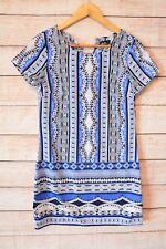 DOTTI dress Sz 8 Small blue white tunic shift dress